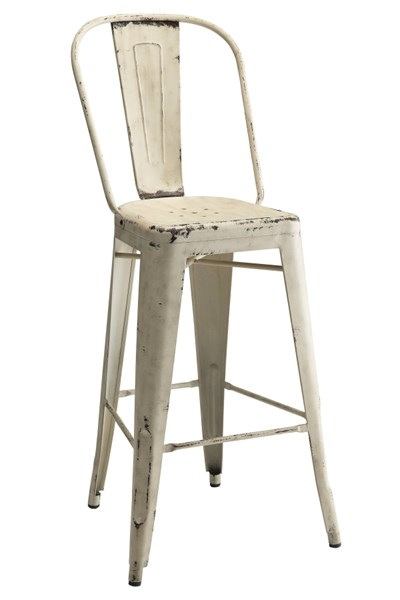 2 White Metal Legs with Foot Rest Bar Stools (L 21.5 x W 21 x H 46) CST-106015
