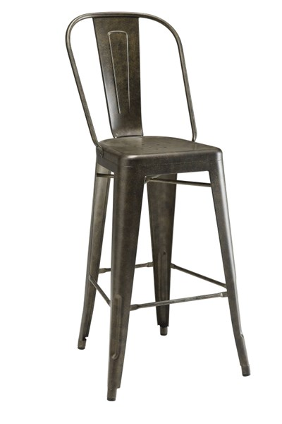 2 Brown Metal Legs with Foot Rest Bar Stools (L 21.5 x W 21 x H 46) CST-106016