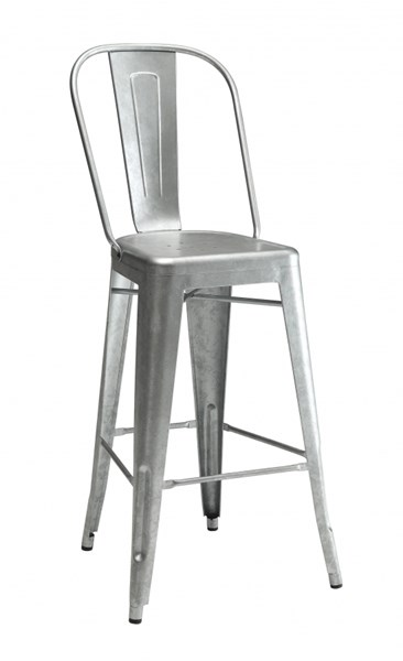 2 Galvanized Metal Legs with Foot Rest Bar Stools CST-106017