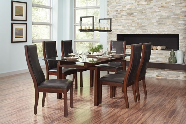 Rossine Transitional Red Brown Glass Wood Dining Room Set CST-106071-BNDL