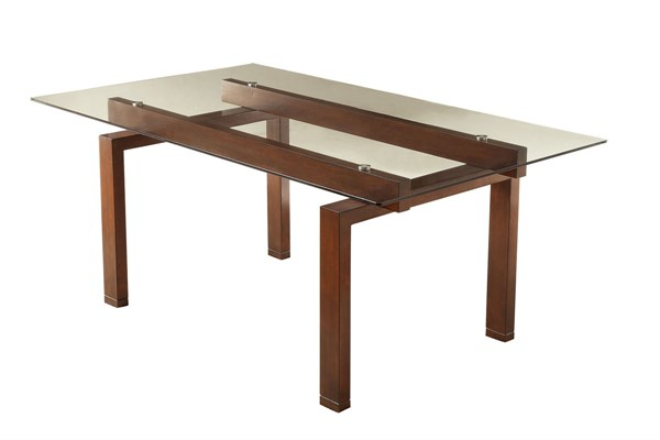 Rossine Transitional Red Brown Glass Wood Dining Table CST-106071