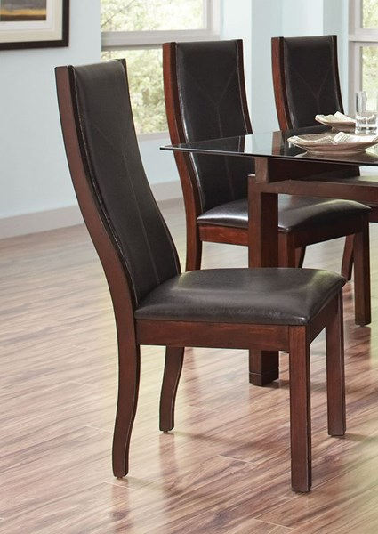 2 Rossine Transitional Red Brown Leatherette Wood Dining Chairs CST-106072