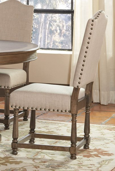 2 Willem Traditional Antique Ash Brown Fabric Wood Dining Chairs CST-106082
