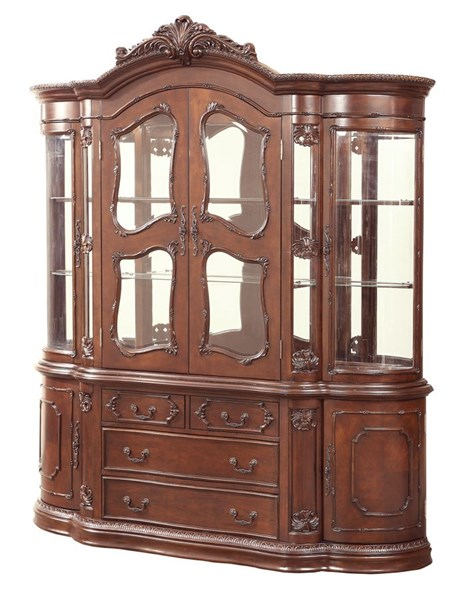 Jacques Classic Dark Cherry Wood Glass Buffet / Hutch CST-106104