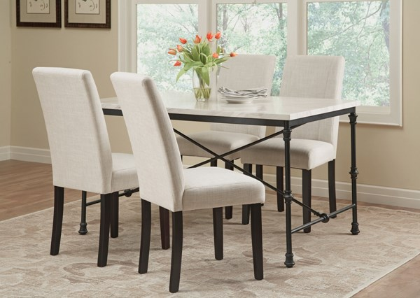 Nagel White Faux Marble 5pc Dining Room Set CST-106131-61