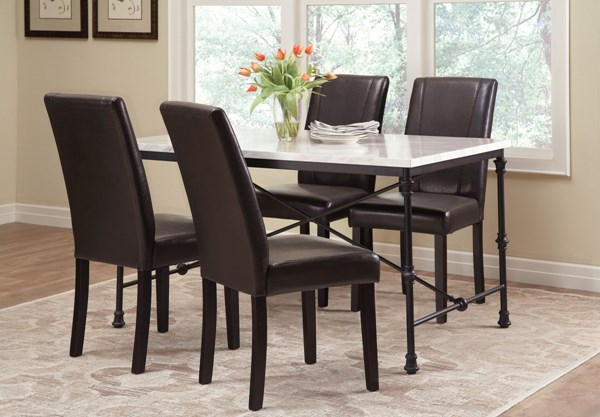 Nagel Black Faux Marble 5pc Dining Room Set CST-106131-62