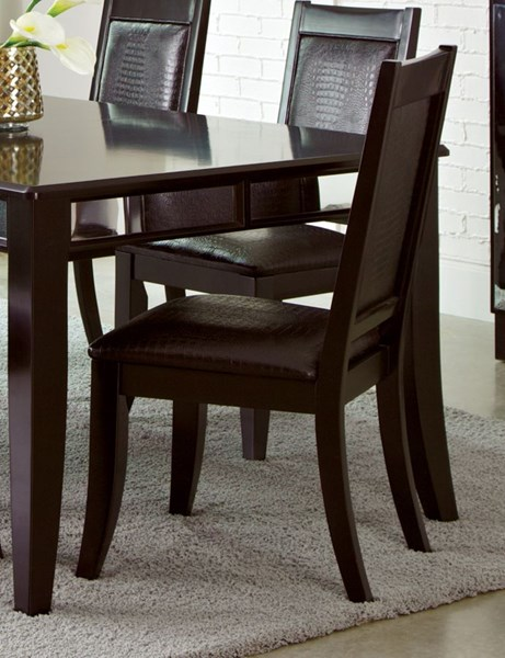 2 Middleton Cappuccino Leatherette Wood Side Chairs CST-106162