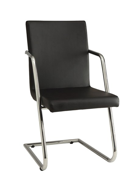 4 Avram Contemporary Black Chrome Leatherette Metal Dining Chairs CST-106212