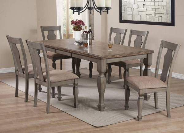 Riverbend Wheat Top Antique Grey Wood Fabric 7pc Dining Room Set CST-10630-DR-S1