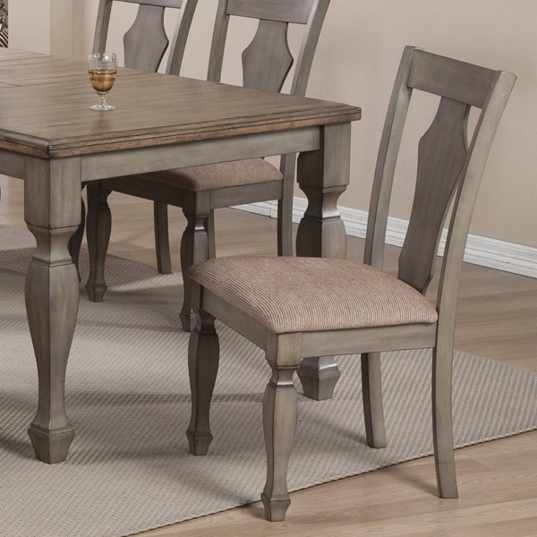 2 Riverbend Antique Grey Warm Brown Padded Fabric Seat Dining Chairs CST-106302