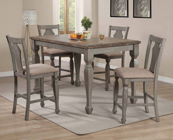 Riverbend Wheat Top Grey Wood Fabric 5pc Counter Height / Bar Set CST-10630-BAR-S1