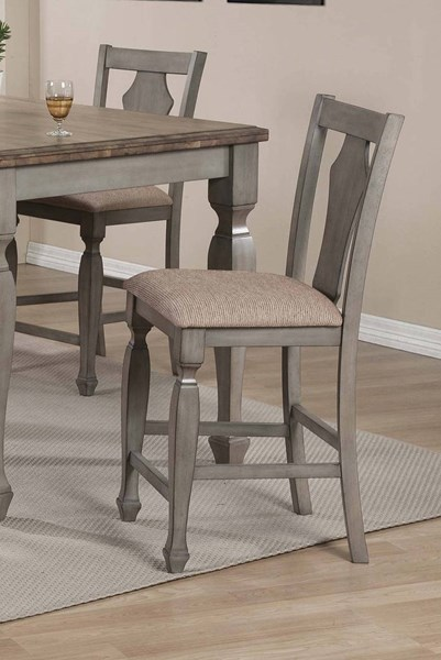 2 Riverbend Grey Warm Brown Padded Fabric Seat Counter Height Chairs CST-106309