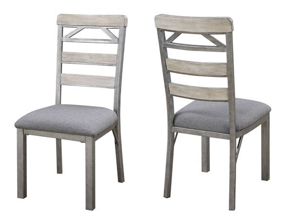 2 Melbourne Craftsman Grey Wood Cushioned Fabric Side Chairs CST-106322