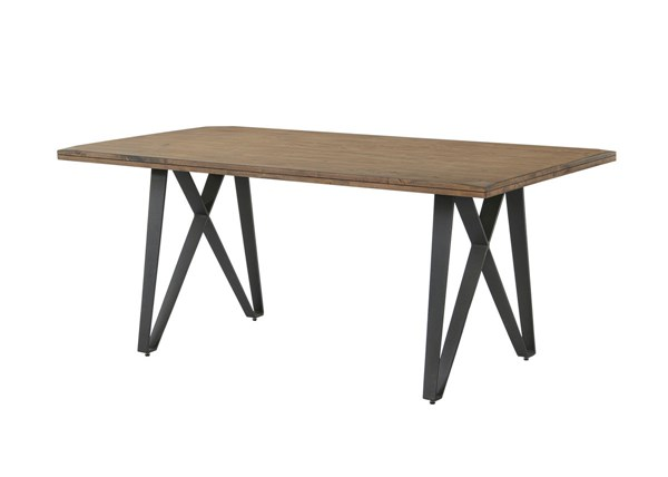 Ferguson Rustic Taupe Wood Metal Fixed Top Dining Table CST-106341