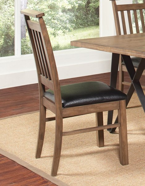 2 Ferguson Rustic Taupe Leatherette Wood Dining Chairs CST-106342