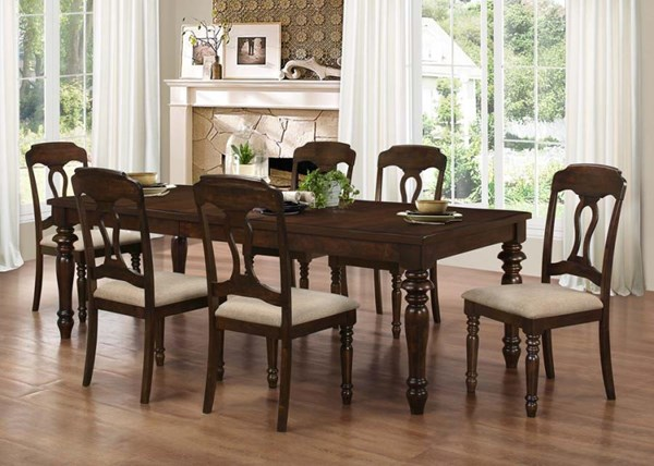 Hamilton Antique Brown Wood Metal 7pc Dining Room Set CST-106351-52