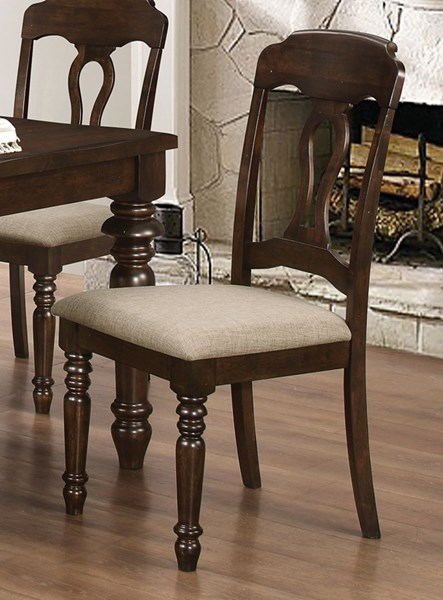 2 Hamilton Antique Brown Wood Fabric Dining Chairs CST-106352