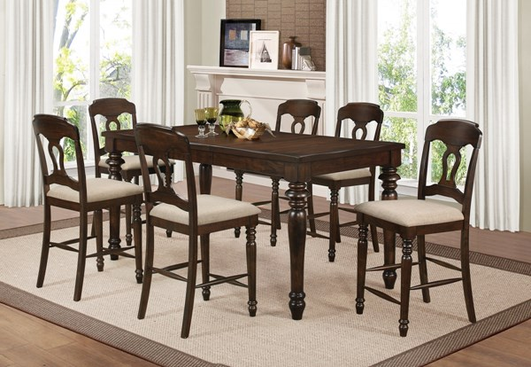 Hamilton Antique Brown Wood Fabric Counter Height / Bar Set CST-106358-BNDL