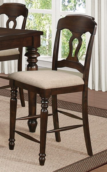 2 Hamilton Antique Brown Fabric Wood Dining Chairs w/Key Hole Back CST-106359