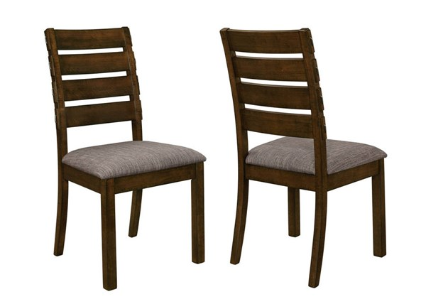 2 Wiltshire Pecan Grey Wood Padded Fabric Slat Back Dining Chairs CST-106362