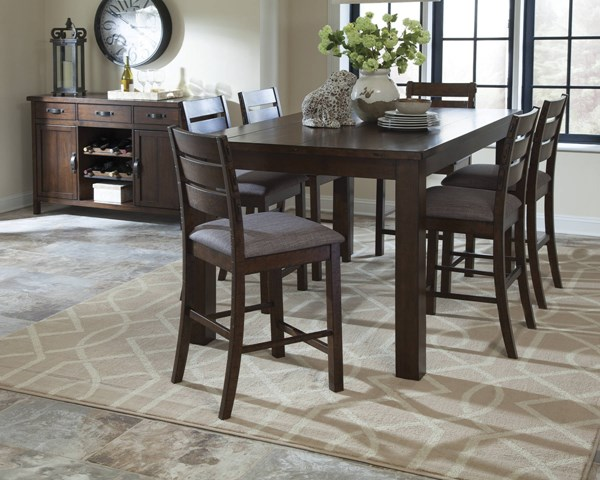 Wiltshire Rustic Pecan Grey Wood Fabric 7pc Counter Height / Bar Set CST-10636-BAR-S1
