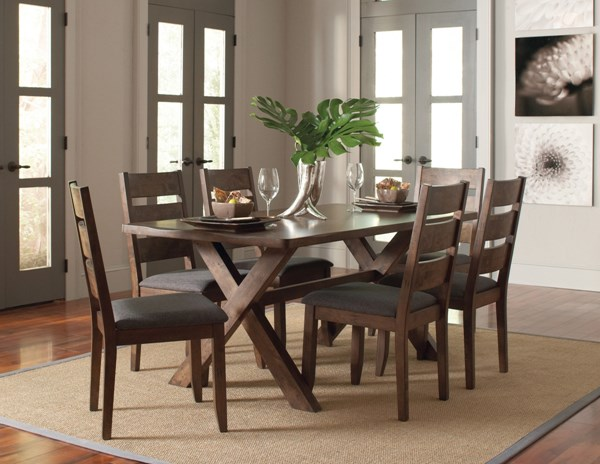 Alston Modern Knotty Nutmeg Grey Wood Dining Room Set CST-106381-BNDL