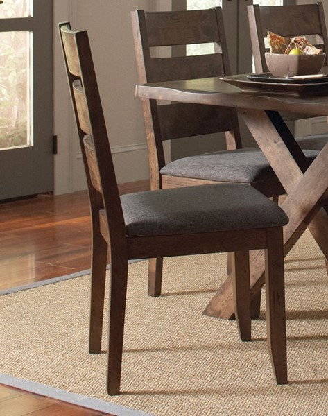 2 Alston Modern Knotty Nutmeg Grey Fabric Wood Dining Chairs CST-106382