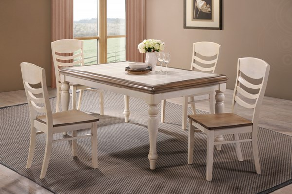 Allston Cottage Golden Brown White Wood 5pc Dining Room Set CST-106451-52