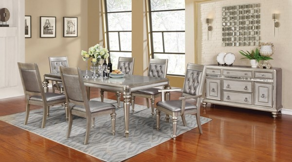 Danette Traditional Metallic Wood 7pc Dining Room Set CST-106471-72-73