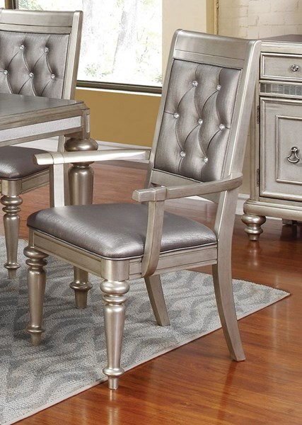 2 Danette Traditional Metallic Leatherette Wood Arm Chairs CST-106473