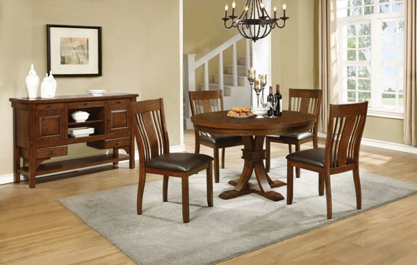 Abrams Transitional Truffle Wood Dining Room Set CST-106480-BNDL