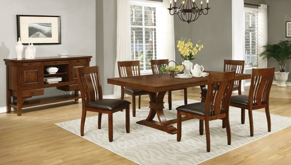 Abrams Transitional Truffle Wood 7pc Dining Room Set CST-106481-82