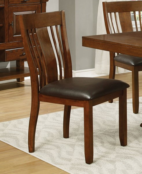 2 Abrams Transitional Truffle Wood Leatherette Dining Chairs CST-106482