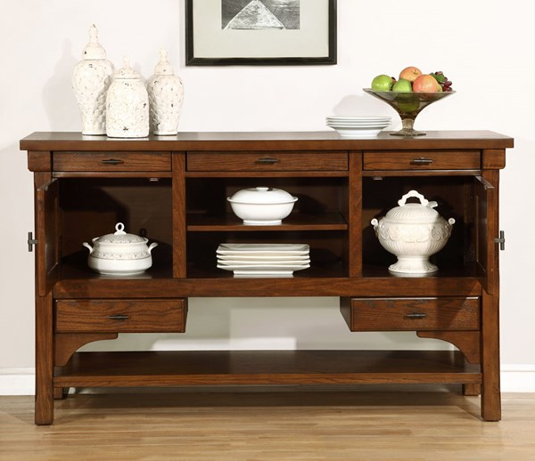 Abrams Transitional Truffle Wood 5 Drawers Server CST-106485
