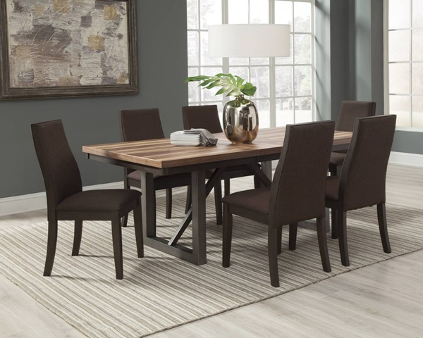 Spring Creek Natural Walnut Brown Wood Fabric 7pc Dining Room Set CST-10658-DR-S1