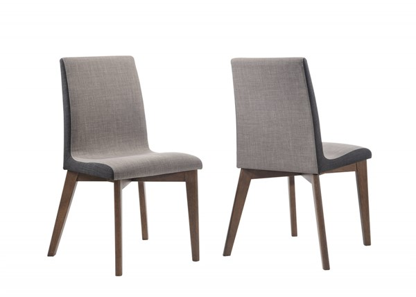 2 Redbridge Modern Grey Two Tone Curve Wood Fabric Dining Chairs CST-106592