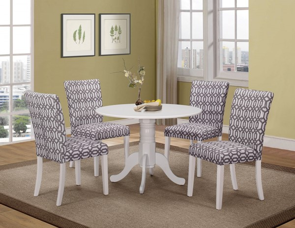 Allston White Wood Solid Top 5pc Dining Room Set CST-106641-42