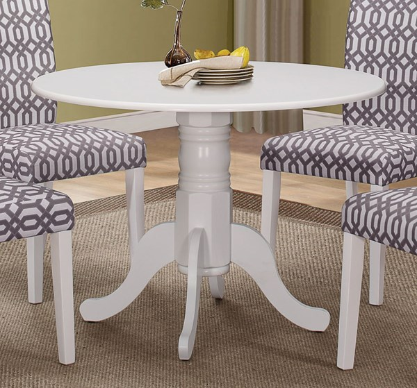 Allston White Wood Round Solid Top Pedestal Table CST-106641