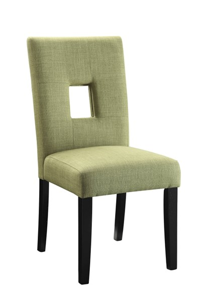 2 Andenne Green Upholster Seat Fabric Wood Keyhole Back Dining Chairs CST-106653