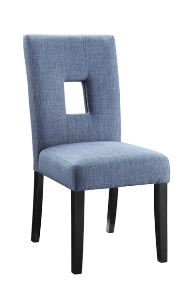 2 Andenne Blue Upholstered Seat Fabric Keyhole Back Wood Dining Chairs CST-106654