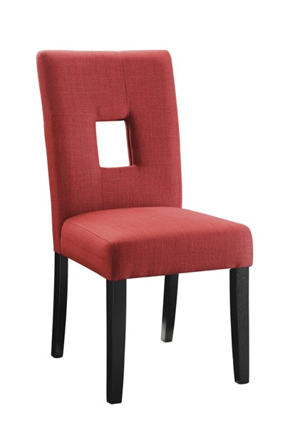 2 Andenne Red Upholstered Seat Fabric Wood Keyhole Back Dining Chairs CST-106655
