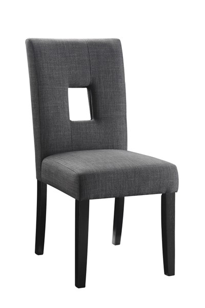 2 Andenne Grey Upholstered Seat Fabric Wood Keyhole Back Dining Chairs CST-106656