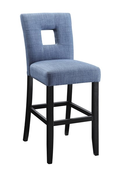 2 Andenne Blue Upholstered Fabric Keyhole Back Counter Height Chairs CST-106674
