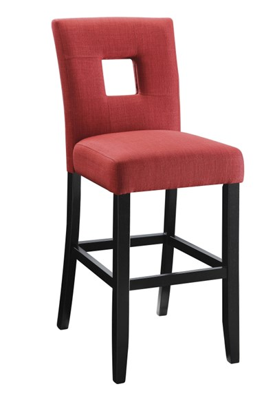 2 Andenne Red Upholstered Fabric Keyhole Back Counter Height Chairs CST-106675