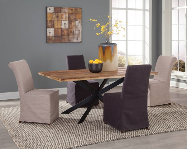 Galloway Natural Grey Beige Wood Metal Fabric Dining Room Set CST-106721-104277-78-DR