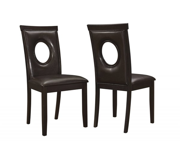 2 Stapleton Cappuccino Leatherette Oval Cutouts Wood Dining Chairs CST-106742