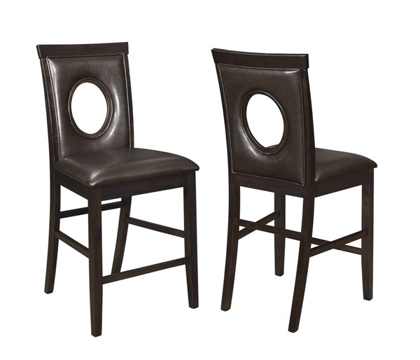 2 Stapleton Cappuccino Leatherette Oval Cutouts Counter Height Chairs CST-106749