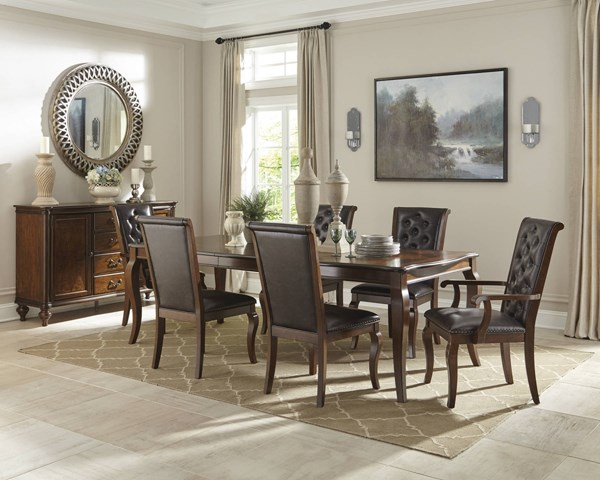 Williamsburg Brown Wood Leatherette 7pc Dining Room Set CST-10681-DR-S1