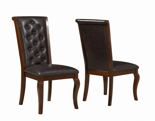 2 Williamsburg Chestnut Brown Leatherette Wood Dining Chairs CST-106812