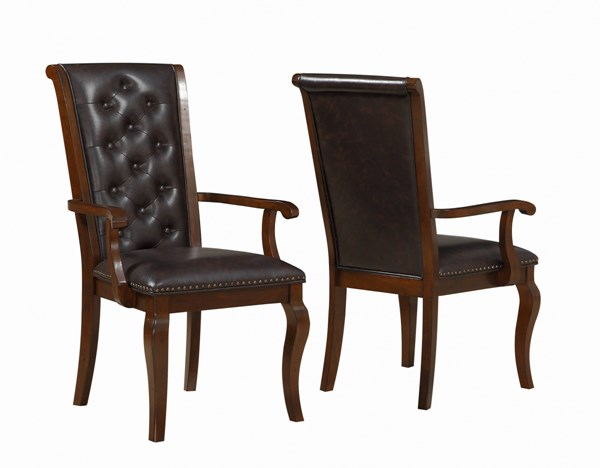 2 Williamsburg Chestnut Brown Leatherette Wood Dining Arm Chairs CST-106813
